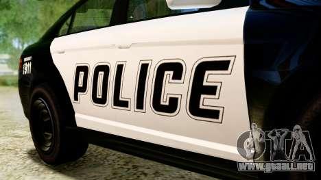 GTA 5 Vapid Police Interceptor v2 IVF para GTA San Andreas vista hacia atrás