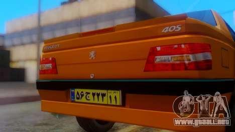 Peugeot 405 Slx Taxi para GTA San Andreas vista hacia atrás