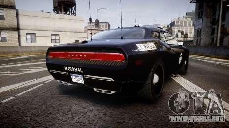 Dodge Challenger Marshal Police [ELS] para GTA 4 Vista posterior izquierda