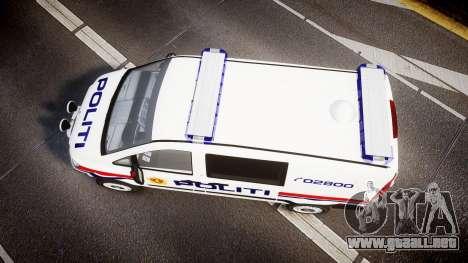 Mercedes-Benz Vito 2014 Norwegian Police [ELS] para GTA 4 visión correcta