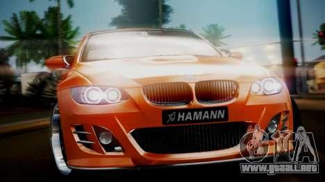 BMW M3 E92 Hamman para GTA San Andreas vista posterior izquierda