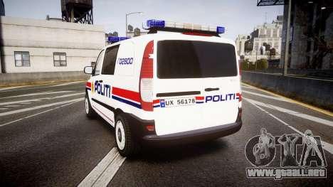 Mercedes-Benz Vito 2014 Norwegian Police [ELS] para GTA 4 Vista posterior izquierda