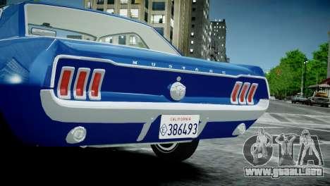 Ford Mustang 1967 para GTA 4 visión correcta