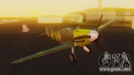 Messerschmitt Bf-109 E3 para GTA San Andreas vista hacia atrás
