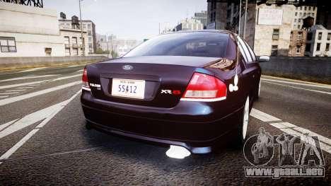 Ford Falcon XR8 2004 Unmarked Police [ELS] para GTA 4 Vista posterior izquierda
