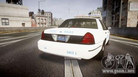 Ford Crown Victoria Metropolitan Police [ELS] para GTA 4 Vista posterior izquierda