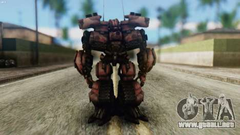 Watpath Skin from Transformers para GTA San Andreas segunda pantalla