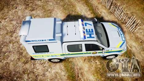 Toyota Hilux 2010 South African Police [ELS] para GTA 4 visión correcta