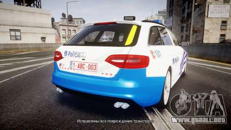 Audi S4 Avant Belgian Police [ELS] para GTA 4 Vista posterior izquierda