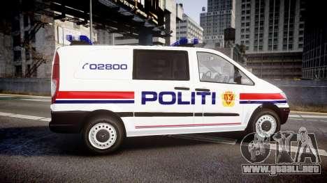 Mercedes-Benz Vito 2014 Norwegian Police [ELS] para GTA 4 left