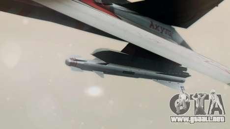T-50 PAK-FA -Akula- para GTA San Andreas vista posterior izquierda
