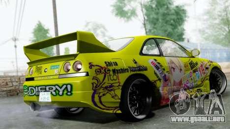 Nissan Skyline R33 Shiina Mashiro Itasha para GTA San Andreas left