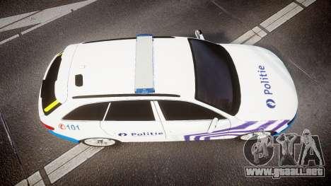 Audi S4 Avant Belgian Police [ELS] para GTA 4 vista hacia atrás