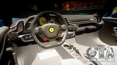 Ferrari 458 Speciale 2014 para GTA 4 vista interior
