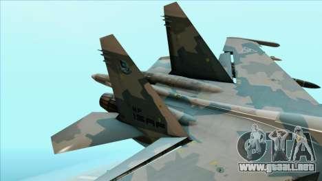 Sukhoi SU-35BM Mobius Squadron para GTA San Andreas vista posterior izquierda