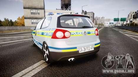 Volkswagen Golf South African Police [ELS] para GTA 4 Vista posterior izquierda