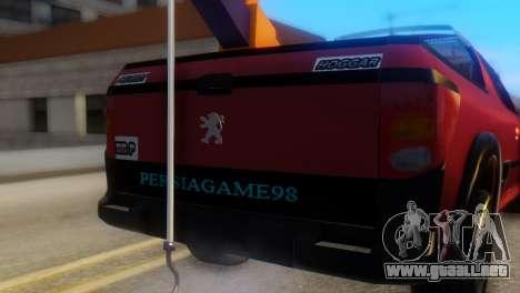 Peugeot 206 TowTruck para GTA San Andreas vista hacia atrás