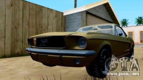 Shelby Mustang GT 1967 para GTA San Andreas vista posterior izquierda