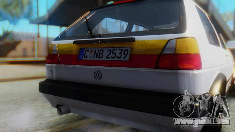 Volkswagen Golf 2 para GTA San Andreas vista hacia atrás