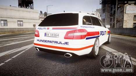 Mercedes-Benz E63 AMG Estate 2012 Police [ELS] para GTA 4 Vista posterior izquierda