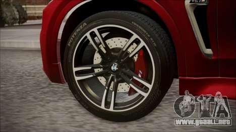 BMW X6M 2015 para GTA San Andreas vista posterior izquierda