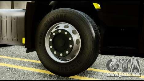 Mercedes-Benz Actros MP4 6x4 Exclucive Interior para GTA San Andreas vista posterior izquierda