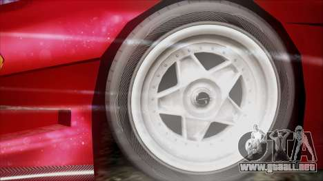 Turismo F40 para GTA San Andreas vista hacia atrás
