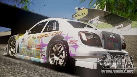 Subaru Impreza 2003 Love Live Muse Team Itasha para GTA San Andreas vista posterior izquierda