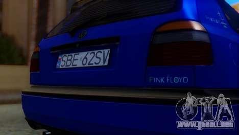 Volkswagen Golf 3 Pink Floyd para GTA San Andreas vista hacia atrás