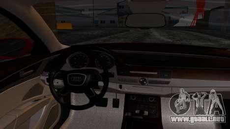Audi A8 Turkish Edition para la visión correcta GTA San Andreas