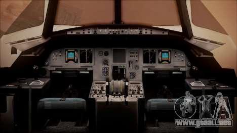 Airbus A320-200 para GTA San Andreas vista hacia atrás