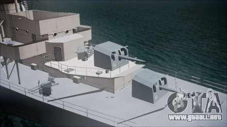 Type 34 Destroyer para GTA San Andreas vista posterior izquierda
