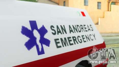 Premier Ambulance para la visión correcta GTA San Andreas