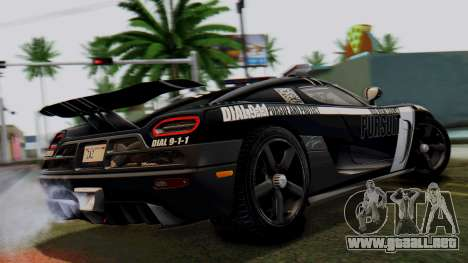 NFS Rivals Koenigsegg Agera R Enforcer para GTA San Andreas left