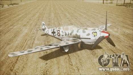Messerschmitt BF-109 E-4 IJAAF para GTA San Andreas vista posterior izquierda