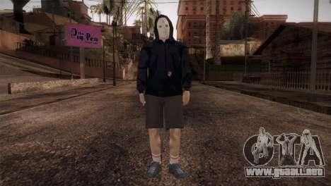 Mercenario de la mafia en la capucha y la máscar para GTA San Andreas segunda pantalla