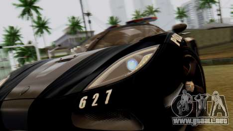 NFS Rivals Koenigsegg Agera R Enforcer para GTA San Andreas vista hacia atrás