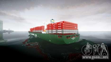 Un barco de contenedores para GTA 4 Vista posterior izquierda