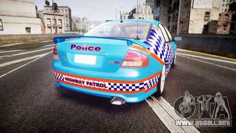 Ford Falcon BA XR8 Police [ELS] para GTA 4 Vista posterior izquierda
