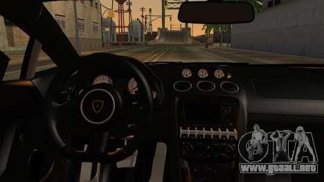 Lamborghini Gallardo Superleggera 2011 para GTA San Andreas vista hacia atrás