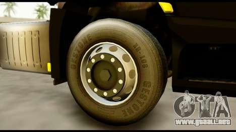 Mercedes-Benz Actros MP4 4x2 Exclusive Interior para GTA San Andreas vista posterior izquierda