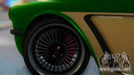 Invetero Coquette BlackFin v2 GTA 5 Plate para GTA San Andreas vista posterior izquierda