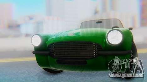 Invetero Coquette BlackFin v2 GTA 5 Plate para GTA San Andreas vista hacia atrás