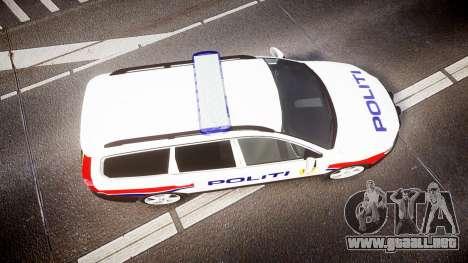 Volvo V70 2014 Norwegian Police [ELS] para GTA 4 visión correcta