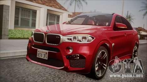 BMW X6M 2015 para GTA San Andreas vista hacia atrás