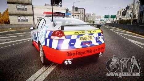 Holden Commodore SS Highway Patrol [ELS] para GTA 4 Vista posterior izquierda