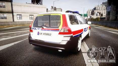 Volvo V70 2014 Norwegian Police [ELS] para GTA 4 Vista posterior izquierda