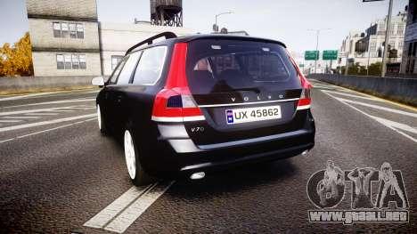 Volvo V70 2014 Unmarked Police [ELS] para GTA 4 Vista posterior izquierda