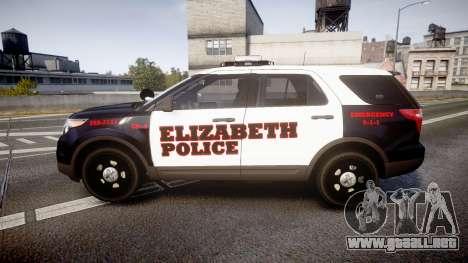Ford Explorer 2011 Elizabeth Police [ELS] para GTA 4 left