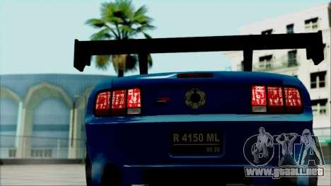 Ford Mustang GT Modification para GTA San Andreas vista hacia atrás
